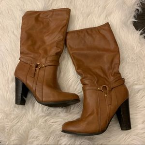 Cognac Colored Round-Toe Heeled Boots